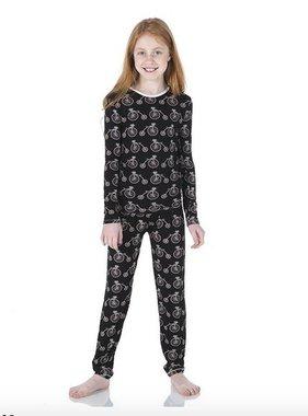 Kickee Pants Print L/S Pajama Set Girls Midnight Bikes