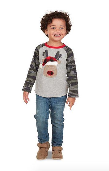 Mud Pie 1052186R Camo Reindeer Shirt