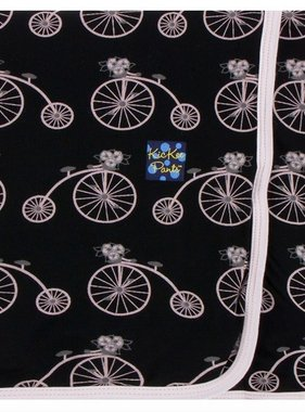 Kickee Pants Print Swaddling Blanket Midnight Bikes