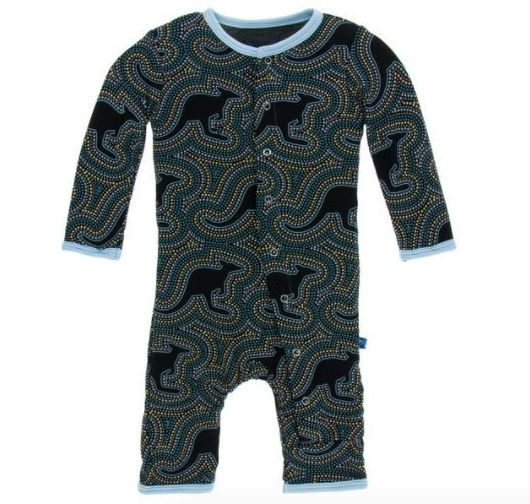 Kickee Pants Print Coverall Snaps, Midnight Kangaroo