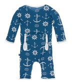 Kickee Pants Print Coverall Snaps, Twilight Anchor