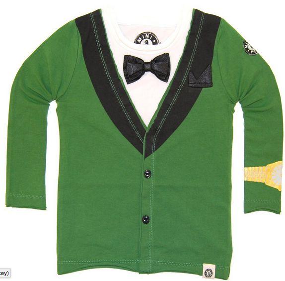 Mini Shatsu Green Tuxedo Bowtie Shirt