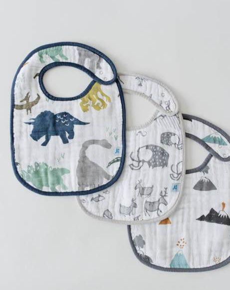 Little Unicorn UF0005 Cotton Muslin Classic Bib 3pk - Dino Set