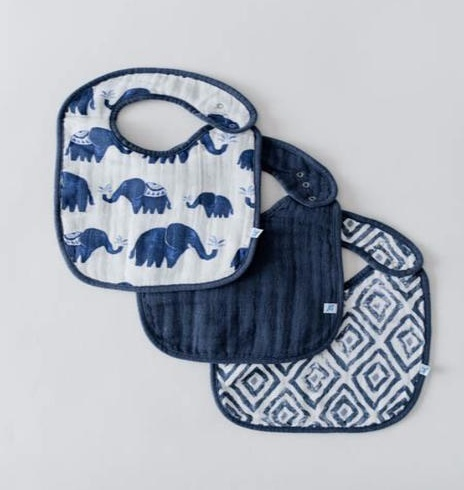 Little Unicorn UF0004 Cotton Muslin Classic Bib 3pk - Indigo Set