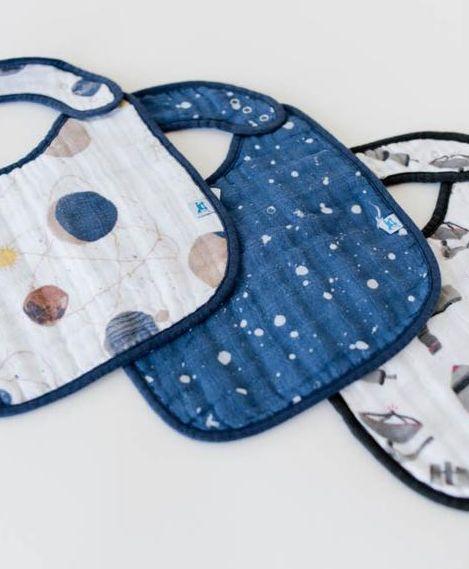 Little Unicorn UF0010 Cotton Muslin Classic Bib 3pk - Planetary Set