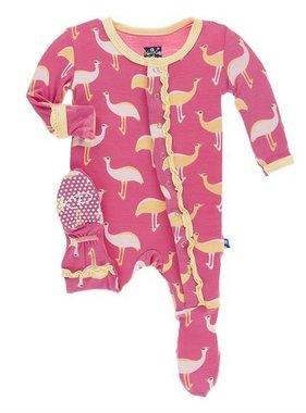 Kickee Pants Print Muffin Ruffle Footie w Snaps Flamingo Emu