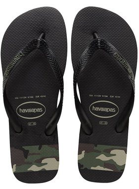 Havaianas Kids 4132585 Top Stripes Logo Sandal Black/Olive