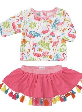 Mud Pie 1122140 Floral Flamingo Rashguard Set
