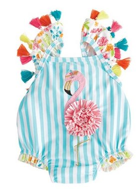 Mud Pie 1122139 Flamingo Tassel Swimsuit