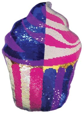 Iscream 780-754 Cupcake Reversible Sequin Pillow