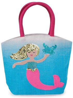 Mud Pie 1562064 Blue Mermaid Straw Tote