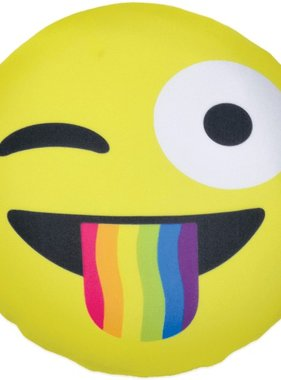 Iscream 780-772 Crazy Face w Rainbow Tongue Emoji Microbead Pillow