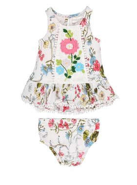 Mimi & Maggie 2373B- SCATTERED FLOWERS 2 PC SET MULTI