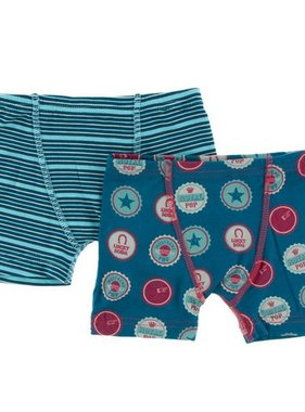 Kickee Pants Boxer Briefs Sets Shining Sea Stripe/Soda Pop Caps