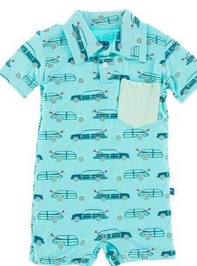 Kickee Pants Print Short Sleeve Polo Romper-Shining Sea Woody