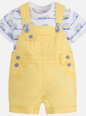 Mayoral 1680 35 Twill Dungaree Set, Lemon