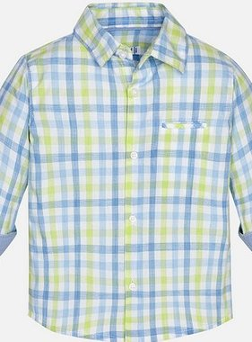 Mayoral 1172 56 L/S Checked Shirt Broccoli