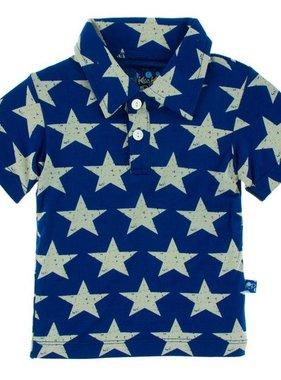 Kickee Pants Print Short Sleeve Polo-Vintage Stars