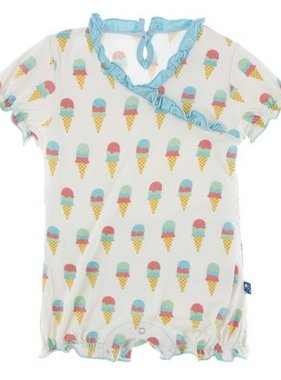 Kickee Pants Print Ruffle Romper-Nat Ice Cream