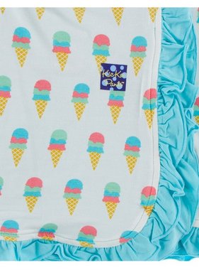 Kickee Pants Print Ruffle Toddler Blanket Nat. Ice Cream
