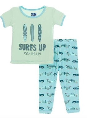Kickee Pants Print Short Sleeve Pajama Set-Shining Sea Woody