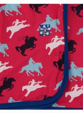 Kickee Pants Print Swaddling Blanket-Flag Red Cowboy