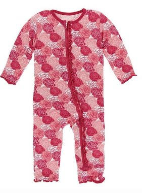 Kickee Pants Print Muffin Ruffle Coverall Zipper-Roses