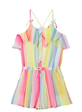 Mayoral 6806 4 Soft Cotton Stripe Romper Fucshia