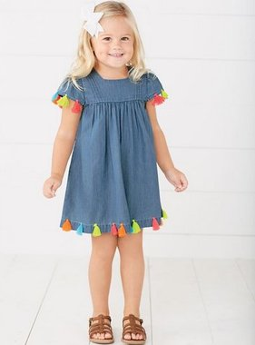 Mudpie 1142252 Denim Tassel Dress