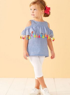 Mud Pie 1152121 Chambray Tassel Top