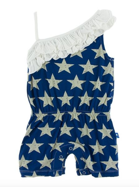 Kickee Pants Print Diagonal Ruffle Romper Vintage Stars
