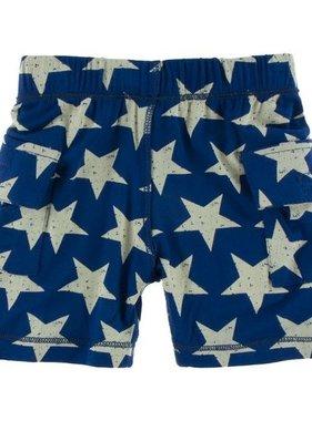 Kickee Pants Print Cargo Short Vintage Stars