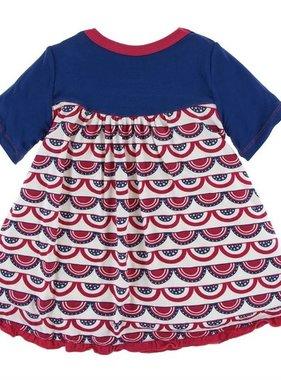 Kickee Pants Print Classic SS Swing Dress Flag Swag