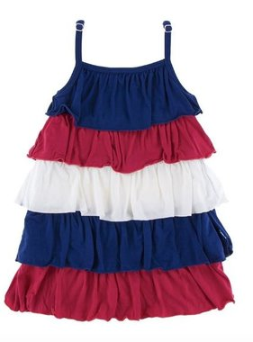 Kickee Pants Solid Tiered Ruffle Dress Flag Red Natural Flag Blue