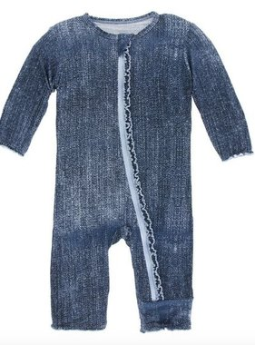 Kickee Pants Print Muffin Ruffle Coverall Zipper Denim