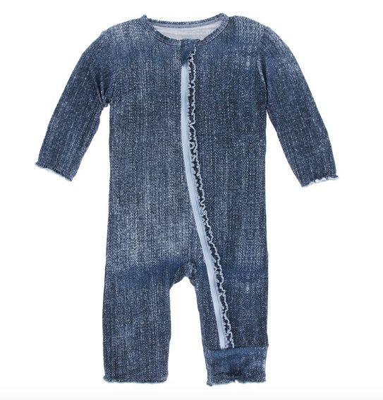 f4fd70fcd kickee pants Print Muffin Ruffle Coverall Zipper Denim - Bella Beach ...