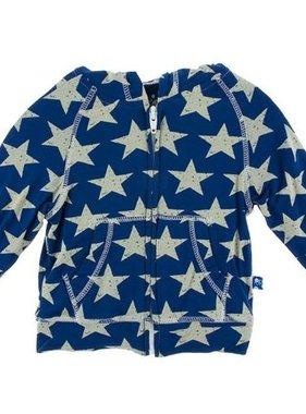 Kickee Pants Print Lightweight Zip Hoodie Vintage Stars