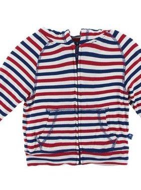 Kickee Pants Print Lightweight Zip Hoodie USA Stripe