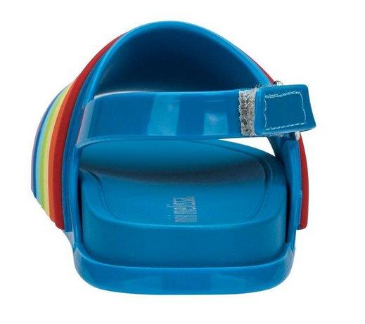 Mini Melissa Mini Beach Slide Sandal Rainbow Blue