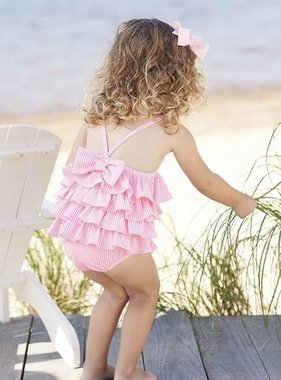 Mud Pie Pink Seersucker Ruffle Swimsuit 1122141