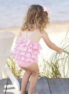 Mudpie Pink Seersucker Ruffle Swimsuit 1122141