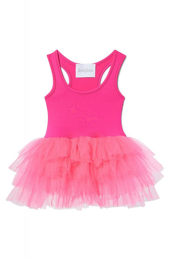 I Love Plum Adele Tutu Leotard- Hot Pink