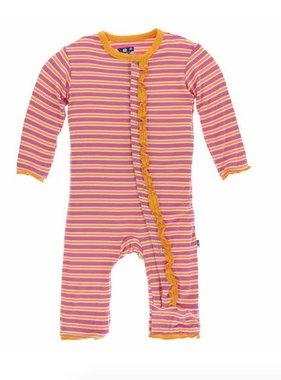 Kickee Pants Print Muffin Ruffle Coverall Snaps Flamingo Brazil Stripe