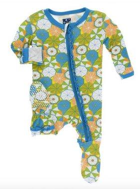 Kickee Pants Print Muffin Ruffle Footie Snaps Beach Umbrellas
