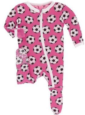 Kickee Pants Print Footie Zipper Flamingo Soccer