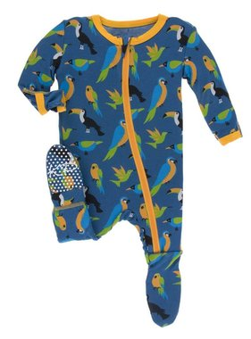 Kickee Pants Print Footie Zipper Twilight Tropical Birds