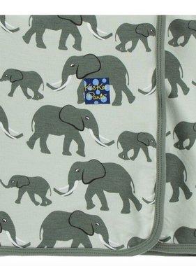 Kickee Pants Print Stroller Blanket Aloe Elephants