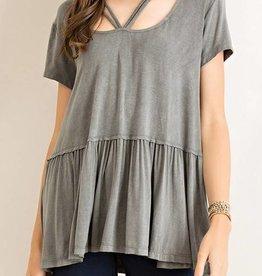 Strappy Peplum Tshirt