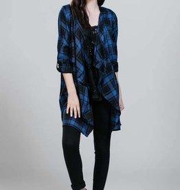 Blue/Blk Plaid Drape Jacket