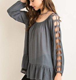 Charcoal Peplum Slit Sleeves